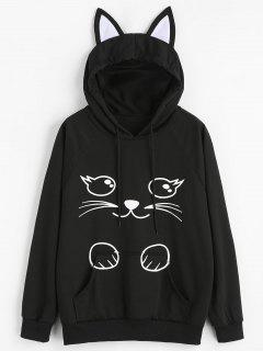 Cartoon Cat Graphic Kangaroo Pocket Hoodie - Black M