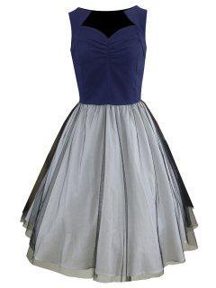Mesh Panel Sweetheart Neck Sleeveless Vintage Dress - Blue S
