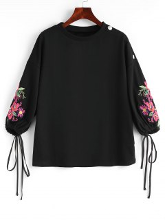 Drawstring Sleeve Floral Embroidered Blouse - Black L
