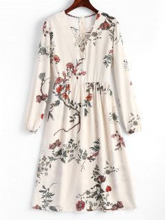 Floral Lace Up Midi Long Sleeve Dress - Floral L