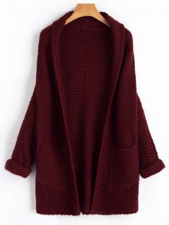 Curled Sleeve Batwing Open Front Cardigan - Wine Red