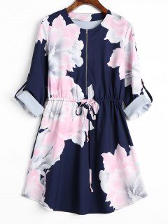 Half Zipper Cuff Roll Sleeve Floral Dress - Purplish Blue L