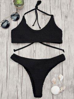 Padded Smocked Bralette Bikini Set - Black L
