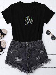 Plant Embroidered T-Shirt - Black