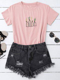 Plant Embroidered T-Shirt - Pink