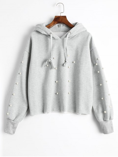 women's Faux Pearl Tunic Hoodie - GRAY XL Mobile