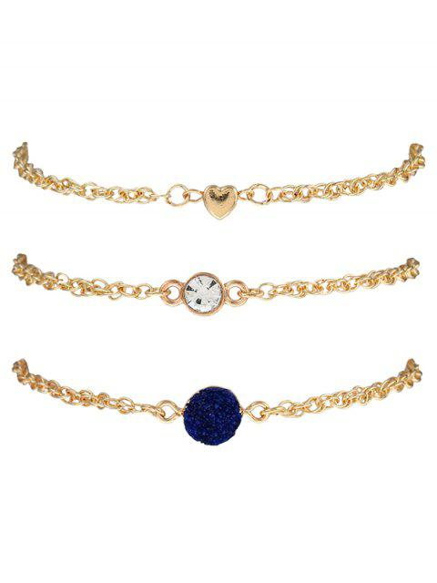womens Natural Stone Rhinestone Heart Bracelet Set - INK BLUE  Mobile