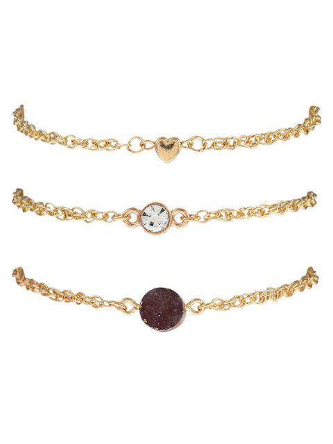 women's Natural Stone Rhinestone Heart Bracelet Set -   Mobile