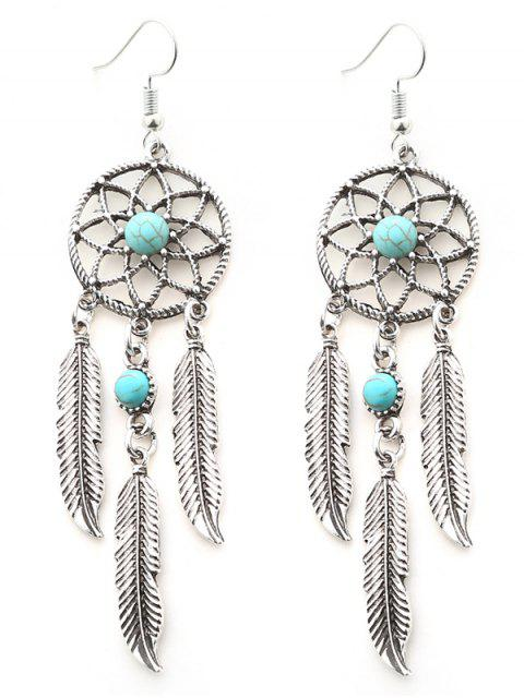 womens Faux Turquoise Feather Dream Catcher Earrings - SILVER  Mobile