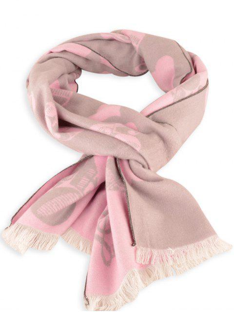 Patrón de corazón de letra con flecos de invierno bufanda - Papaya  Mobile