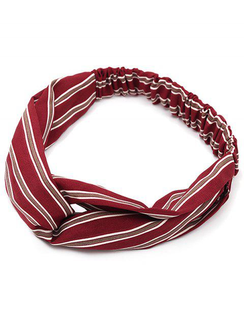 affordable Striped Vintage Elastic Hair Band - RED WITH WHITE  Mobile