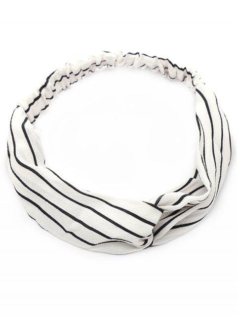 women Striped Two Tone Elastic Hair Band - WHITE  Mobile