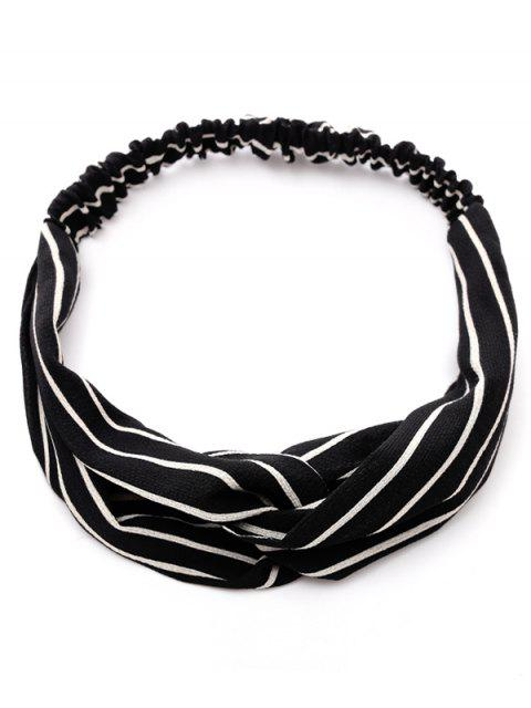 ladies Striped Two Tone Elastic Hair Band - BLACK  Mobile