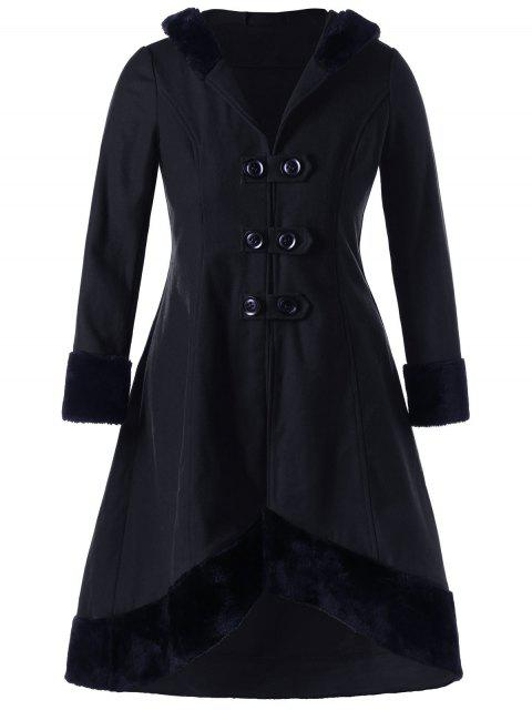latest Plus Size Lace Up Dip Hem Coat - BLACK 3XL Mobile