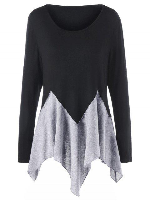 Plus Größe Zwei Ton Langarm Taschentuch T-shirt - Schwarz & Grau 2XL Mobile