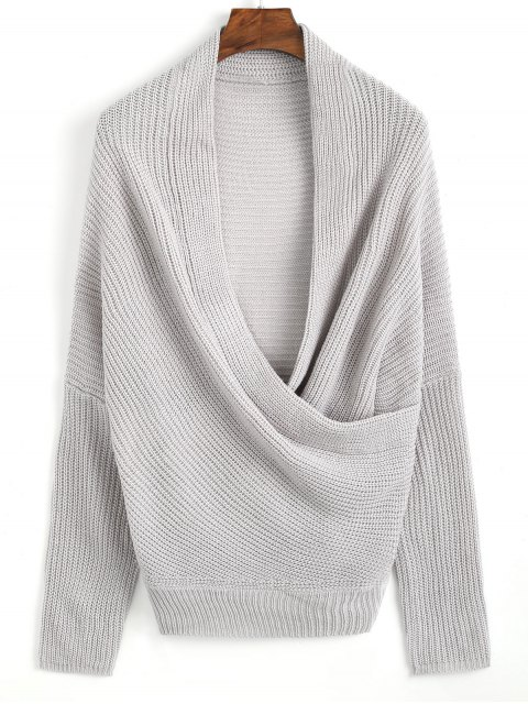 ladies Plunging Neck Ribbed Wrap Sweater - GRAY ONE SIZE Mobile