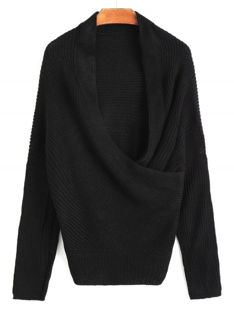 lady Plunging Neck Ribbed Wrap Sweater - BLACK ONE SIZE Mobile