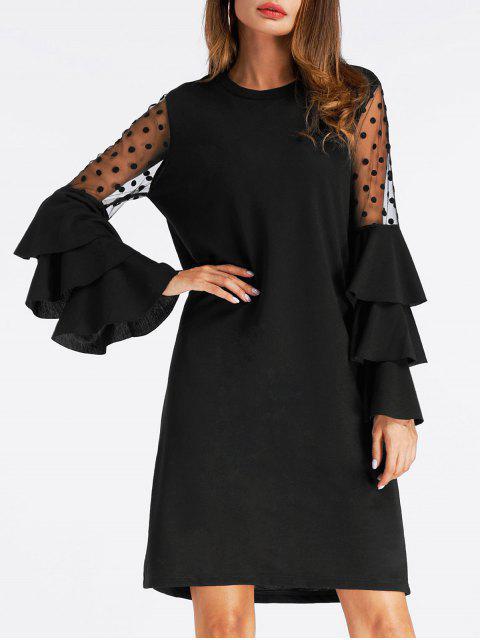 Vestido de malla con manga larga y manga corta - Negro XL Mobile