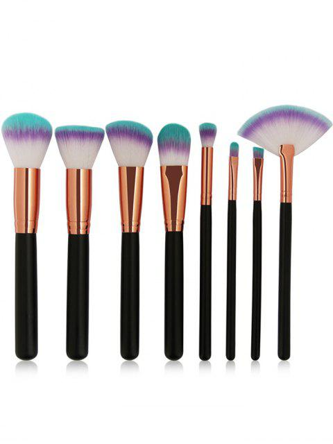 new Three Tones Bristles Makeup Brush Set 8Pcs - BLACK  Mobile