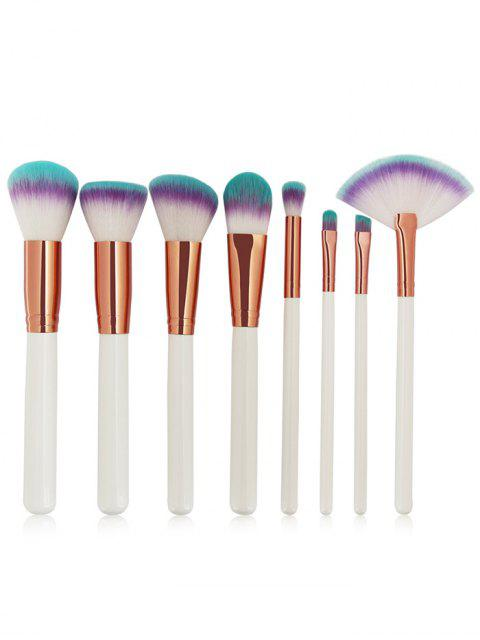 hot Three Tones Bristles Makeup Brush Set 8Pcs - WHITE  Mobile