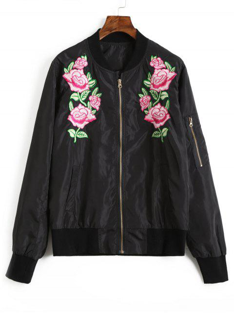 fancy Floral Embroidered Bomber Jacket - BLACK S Mobile