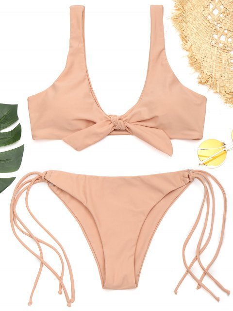 new Front Knotted Padded String Bathing Suit - PINKBEIGE S Mobile
