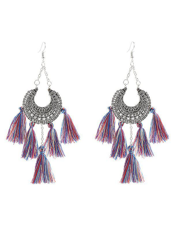 tribal alloy moon tassel chandelier earrings