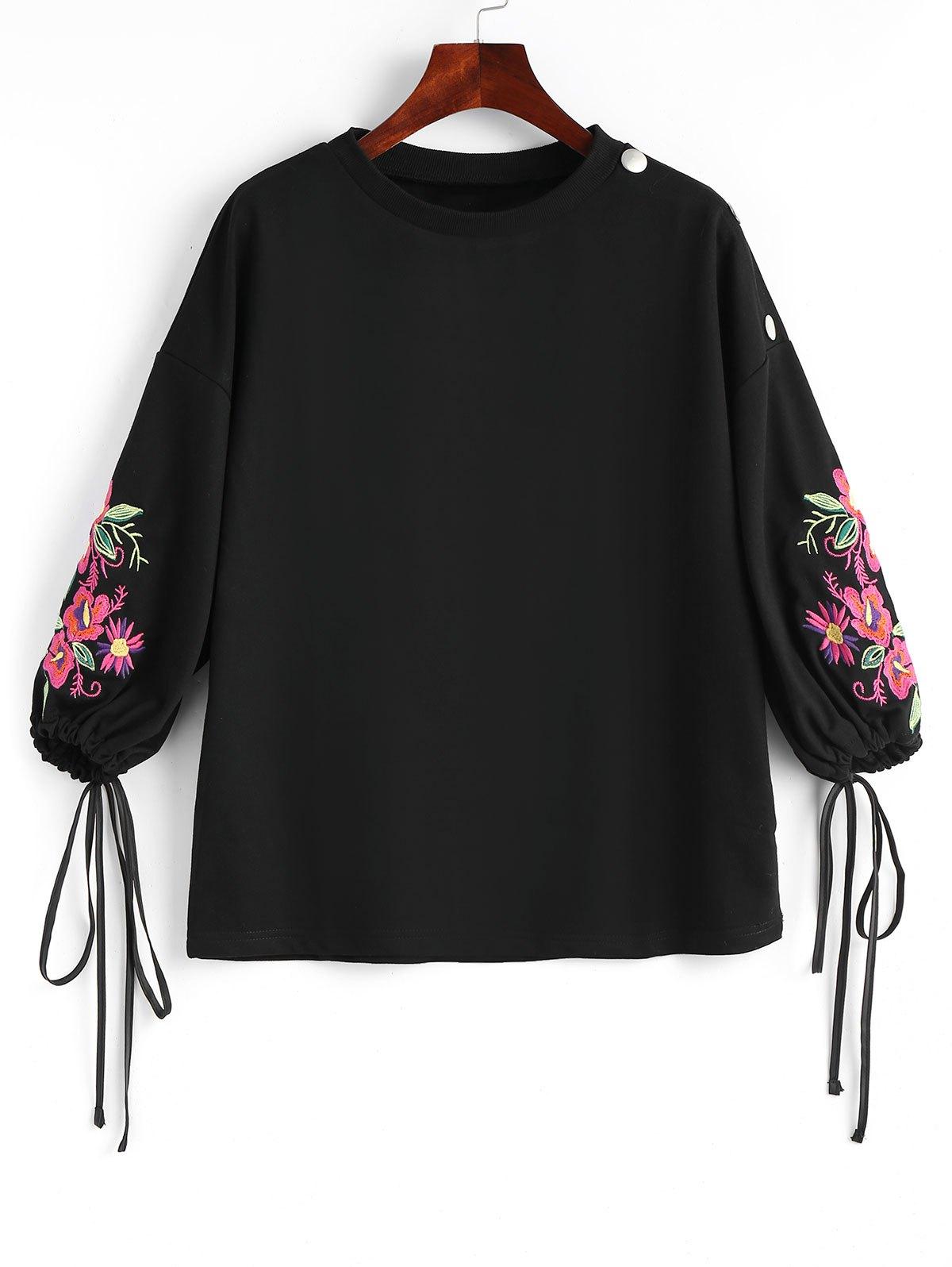 Kordelzug rmel Floral bestickte Bluse