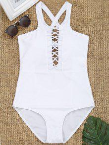 قطعة واحدة عبر العودة سترابي ملابس السباحة - أبيض S