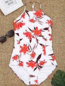 عودة الرباط حتى ملابس السباحة الأزهار - أبيض L