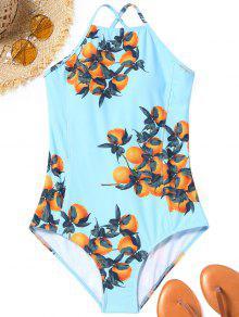 برتقالي طباعة الظهر الدانتيل يصل ملابس السباحة - الضوء الأزرق S