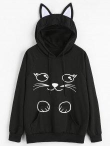 Cartoon Cat Graphic Kangaroo Pocket Hoodie