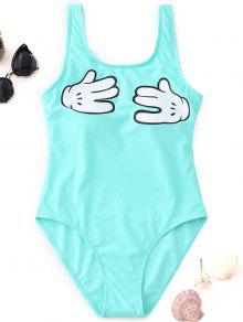 لفتة الجرافيك قطعة واحدة ملابس السباحة - البحيرة الخضراء S