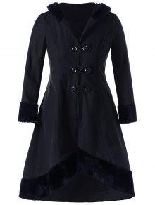 معطف ذو مقاس كبير بأربطة - أسود Xl