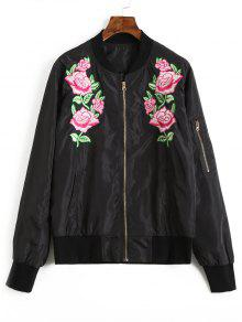 Chaqueta De Bombardero Bordado Floral - Negro L