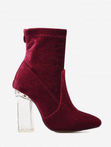 حذاء مخملي لوزي الشكل عند الأصابع ذو كعب سميك وشفاف - نبيذ أحمر 40