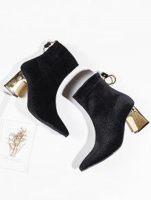 99edfe419 35% OFF] 2019 Metallic Heel Faux Suede Ankle Boots In BLACK | ZAFUL