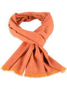 Fular De Punto Mixto Con Flecos - Naranja Amarillo