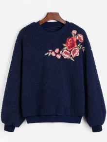 الطاقم الرقبة الأزهار المطرزة الصوف البلوز - الأرجواني الأزرق Xl