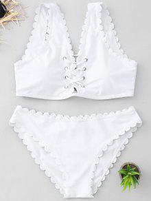 Conjunto De Bikini Festoneado A Rayas - Blanco Xl