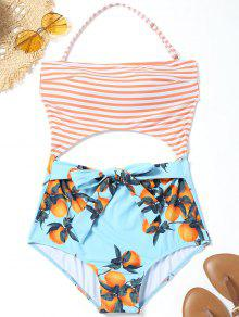 برتقالي طباعة قطع مخطط ملابس السباحة - الضوء الأزرق S