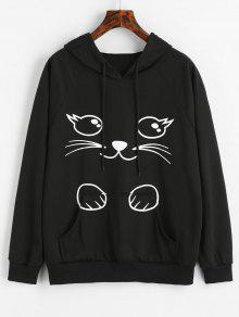 Sudadera Pocket Negro Capucha Animados Graphic L Con De Dibujos Kangaroo Cat CWCxqHT8rw