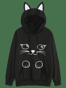 Sudadera Capucha Con Negro Graphic Animados De L Pocket Dibujos Kangaroo Cat qqfngrT