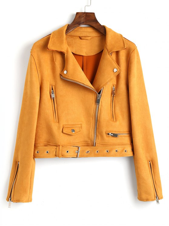 buy Zip Up Belted Faux Suede Jacket - MUSTARD L