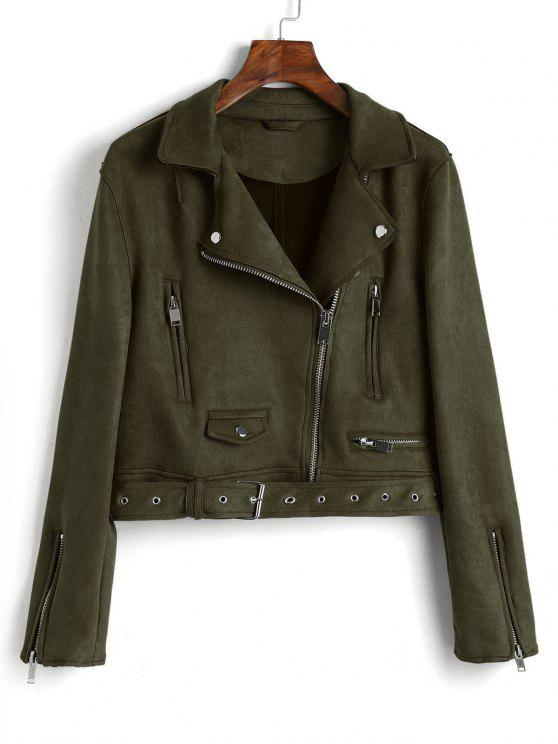 women Zip Up Belted Faux Suede Jacket - ARMY GREEN M