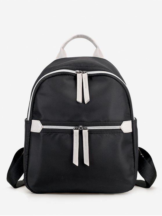 womens Nylon Contrasting Color Backpack - BLACK