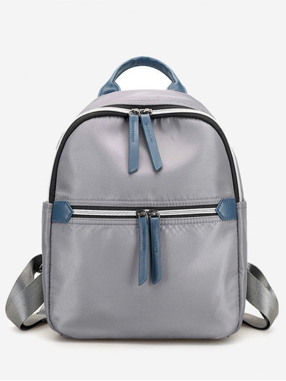 women's Nylon Contrasting Color Backpack - GRAY