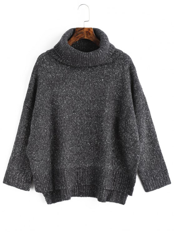 Suéter De Cuello Alto Alto Bajo Jaspeado Gris Oscuro: Única Talla ...