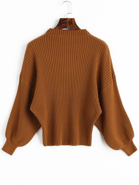 new Lantern Sleeve Ribbed Mock Neck Sweater - LIGHT BROWN ONE SIZE