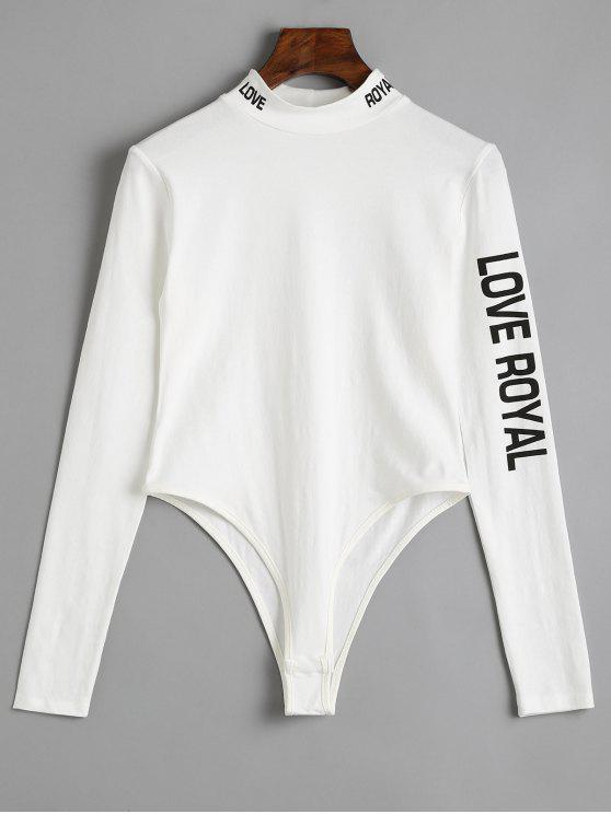 sale Long Sleeve Skinny Letter Bodysuit - WHITE M